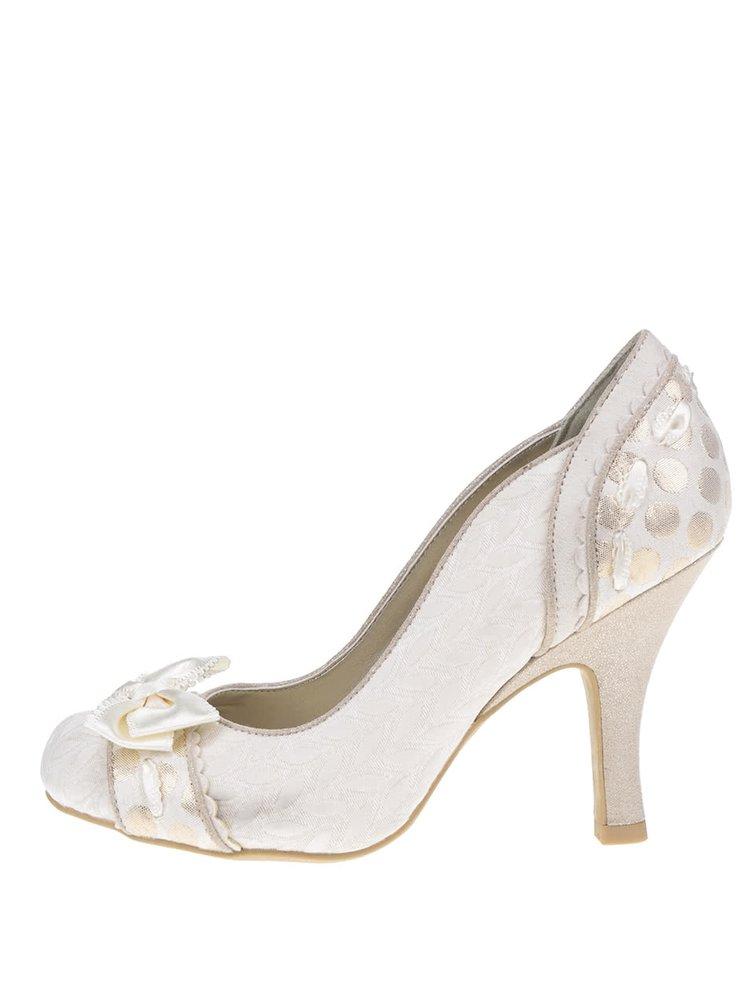 Pantofi cu toc crem Ruby Shoo Amy cu fundă decorativă