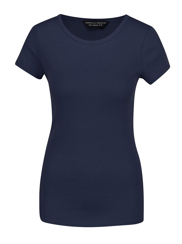 Tmavě modré bavlněné basic tričko Dorothy Perkins
