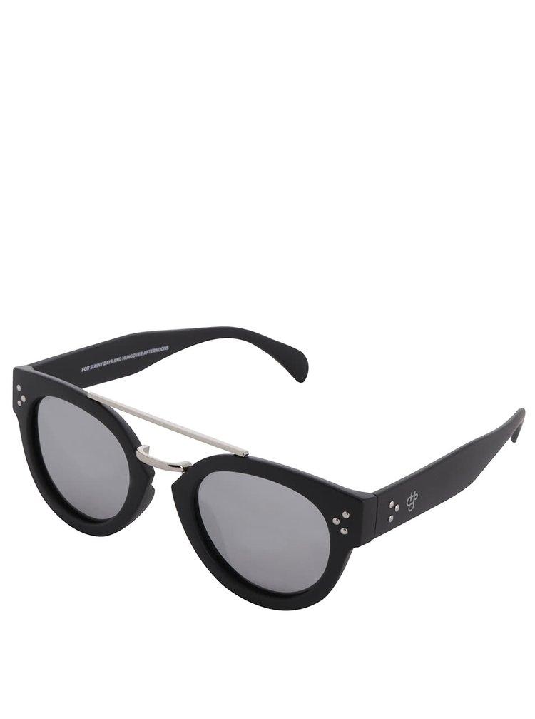 Černé unisex sluneční brýle se sklem ve stříbrné barvě CHPO Stockholm