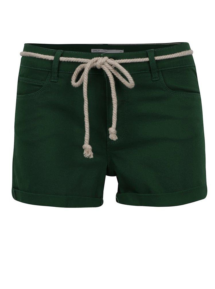 Pantaloni scurți verzi ONLY Claudia cu șnur decorativ