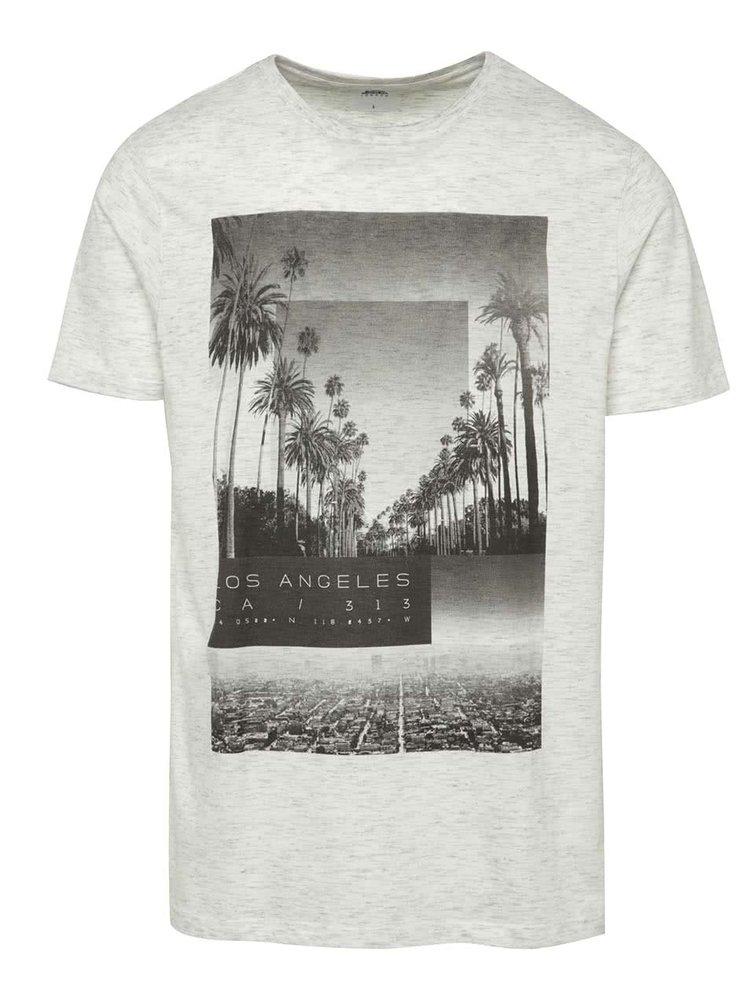 Krémové žíhané triko s potiskem Burton Menswear London