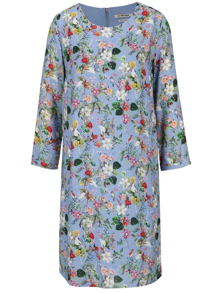 Modré květované šaty s 3/4 rukávem Rich & Royal