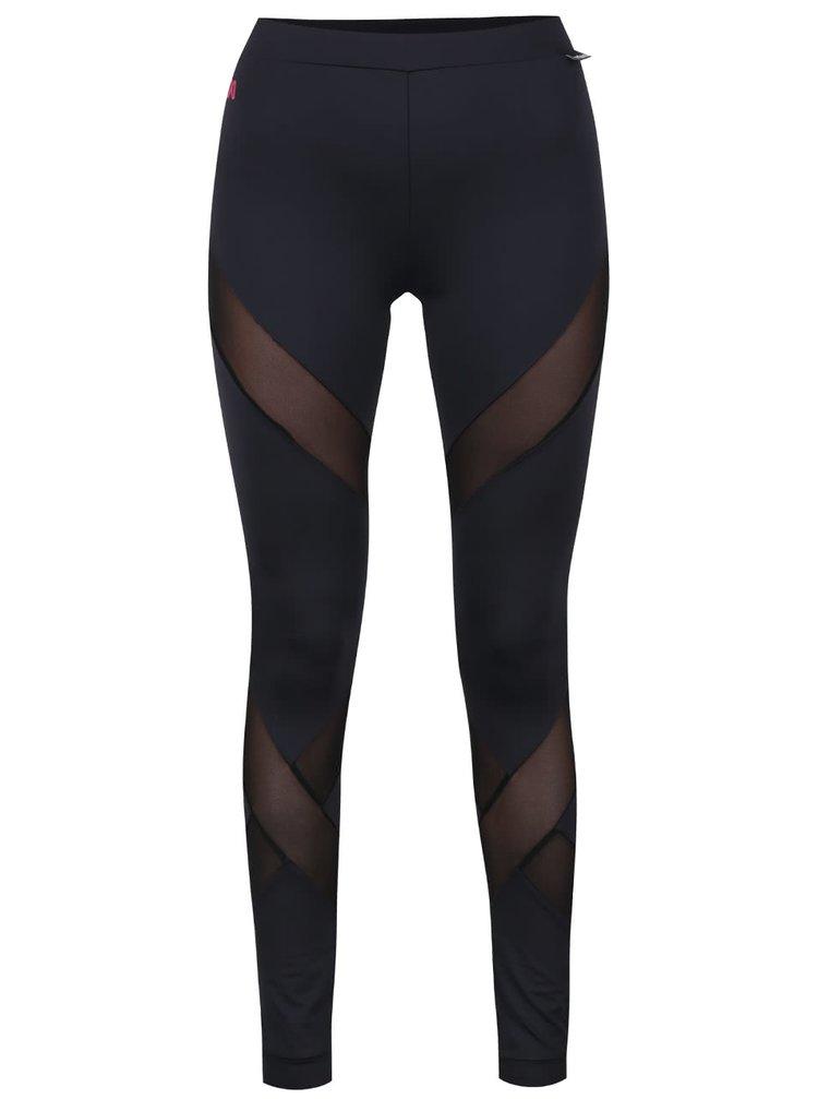 Černé sportovní legíny s průsvitnými detaily Mania fitness wear Diamond