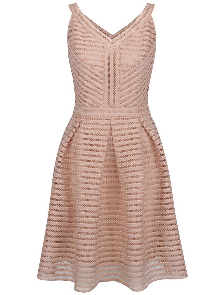 Světle růžové perforované šaty VERO MODA Tana
