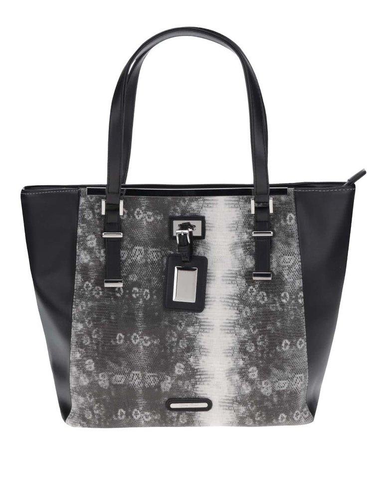 Černá velká kabelka s vzorem z hadí kůže Love Juno