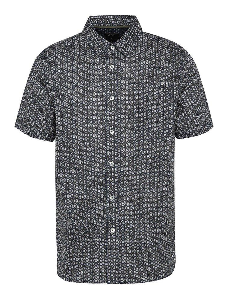 Cămașă albastră Burton Menswear London din bumbac cu mâneci scurte și model