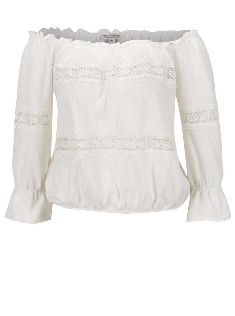 Krémové tričko s lodičkovým výstřihem Miss Selfridge