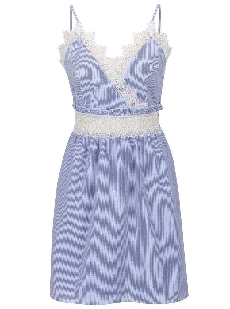 Světle modré pruhované šaty s krajkou Miss Selfridge