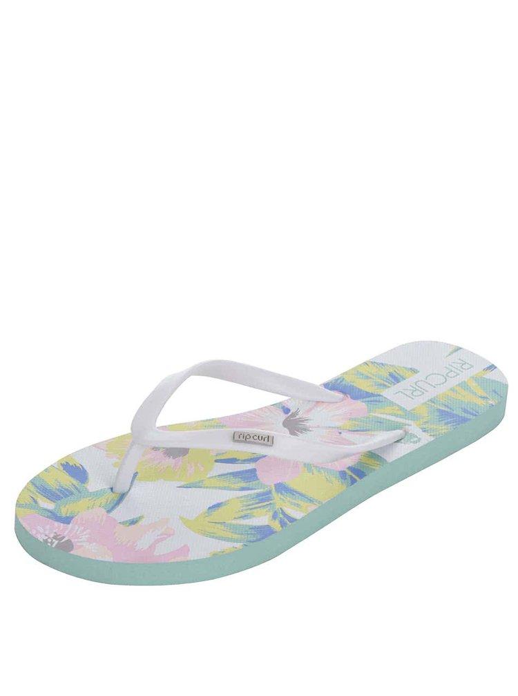 789e24c5b903 ... Bielo-zelené kvetované dámske žabky Rip Curl Flores