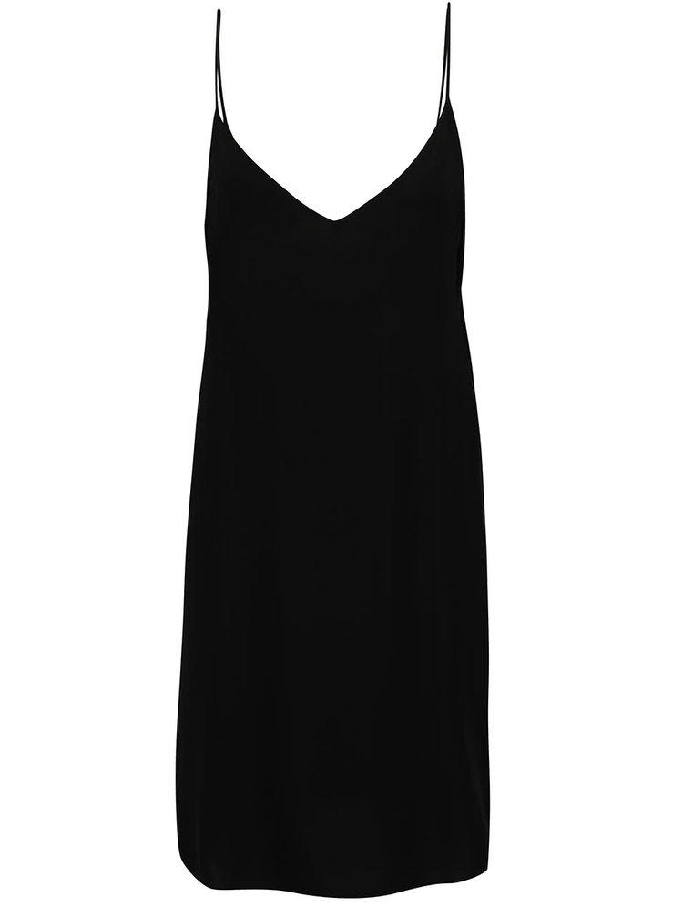 Černé volné šaty na ramínka VILA Mask