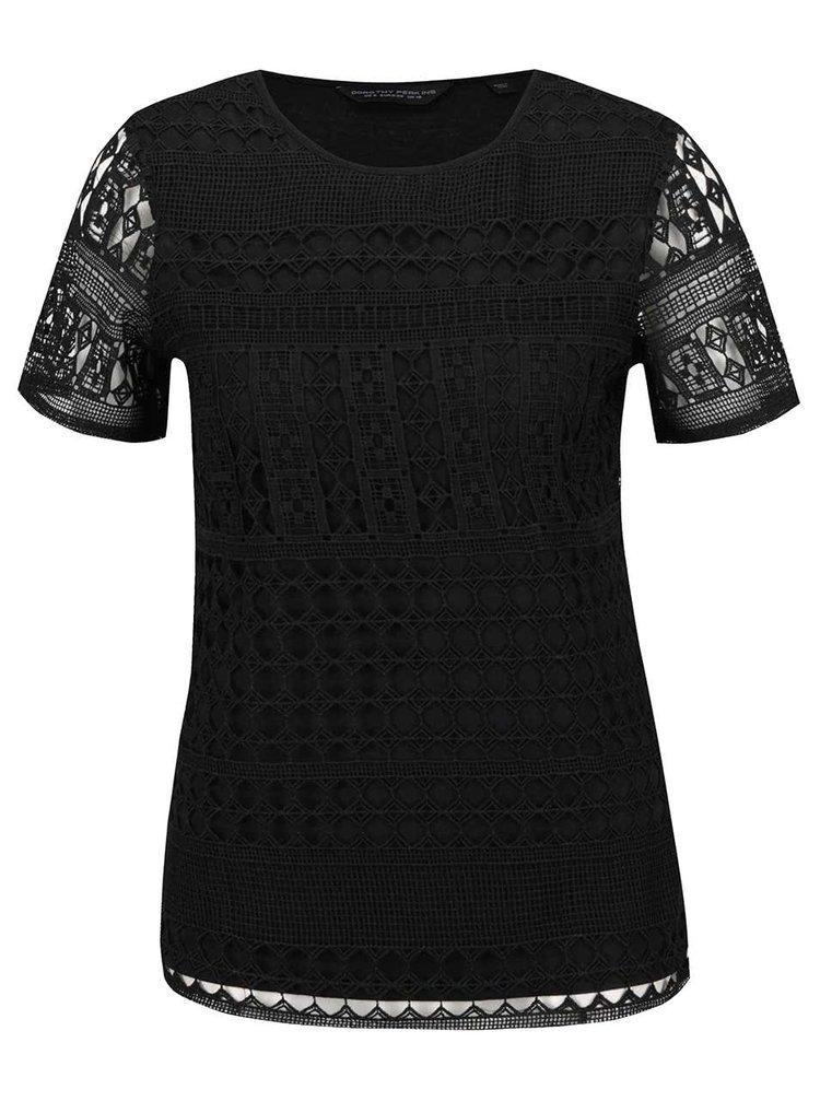 Bluză neagră Dorothy Perkins din dantelă