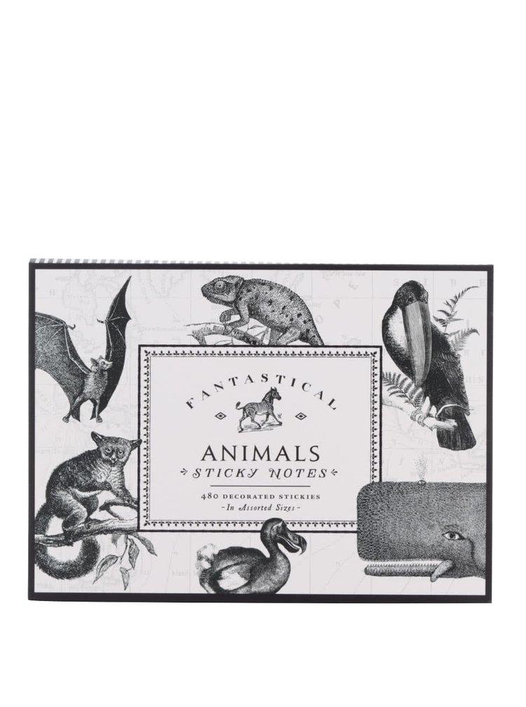 Černo-bílá sada samolepicích poznámkových papírků s motivem zvířat Galison