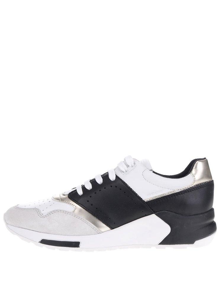 Černo-bílé dámské semišové tenisky Geox Phyteam