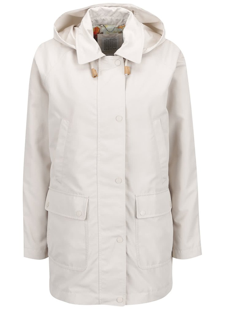 Jachetă lungă impermeabilă crem Geox cu guler ascuțit și glugă