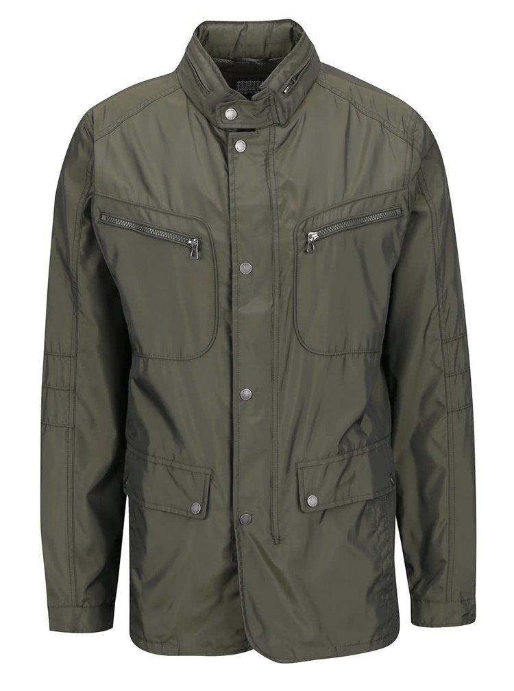 Khaki pánská dlouhá bunda se skrytou kapucí Geox