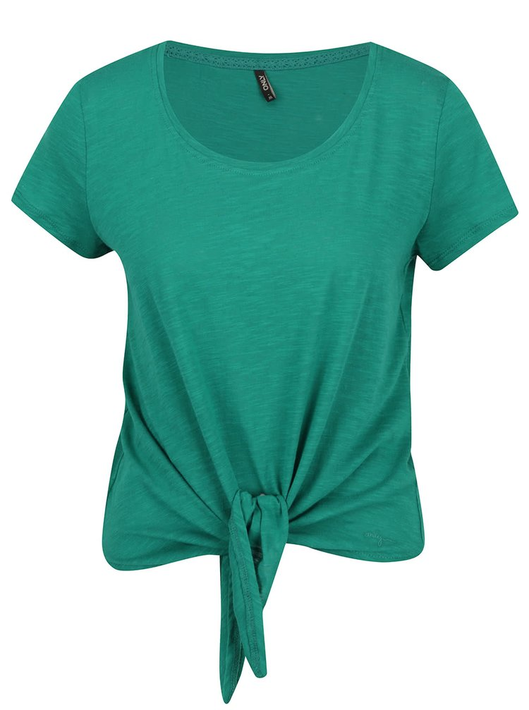 Tricou verde ONLY Kasia cu nod decorativ