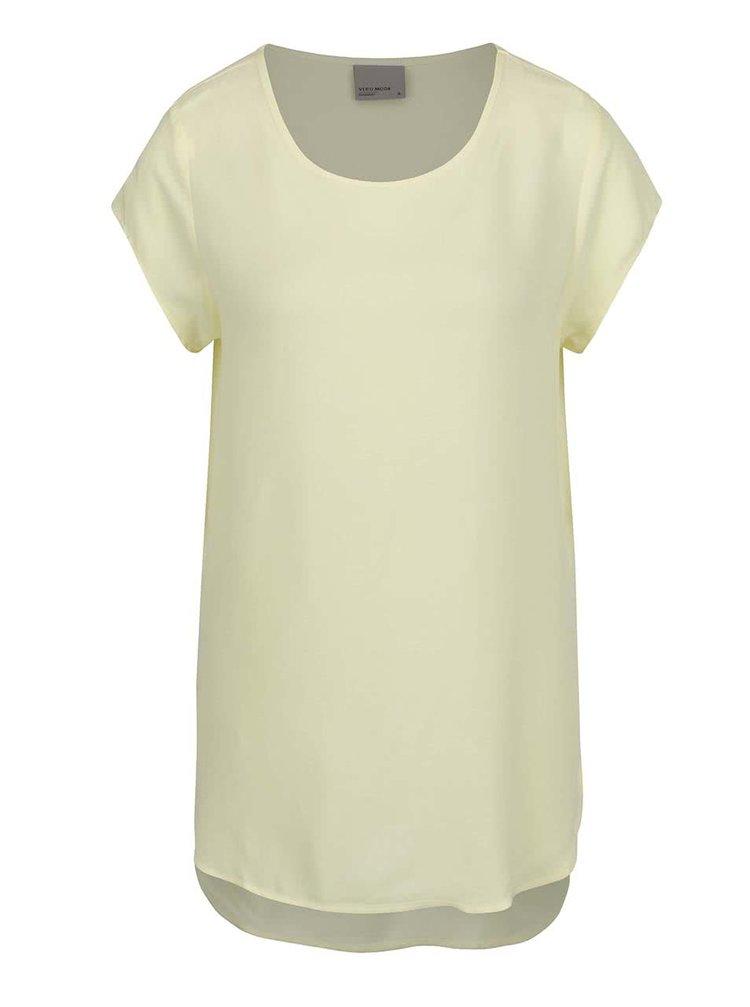 Bluza galben deschis VERO MODA Boca cu croi lejer si tiv asimetric