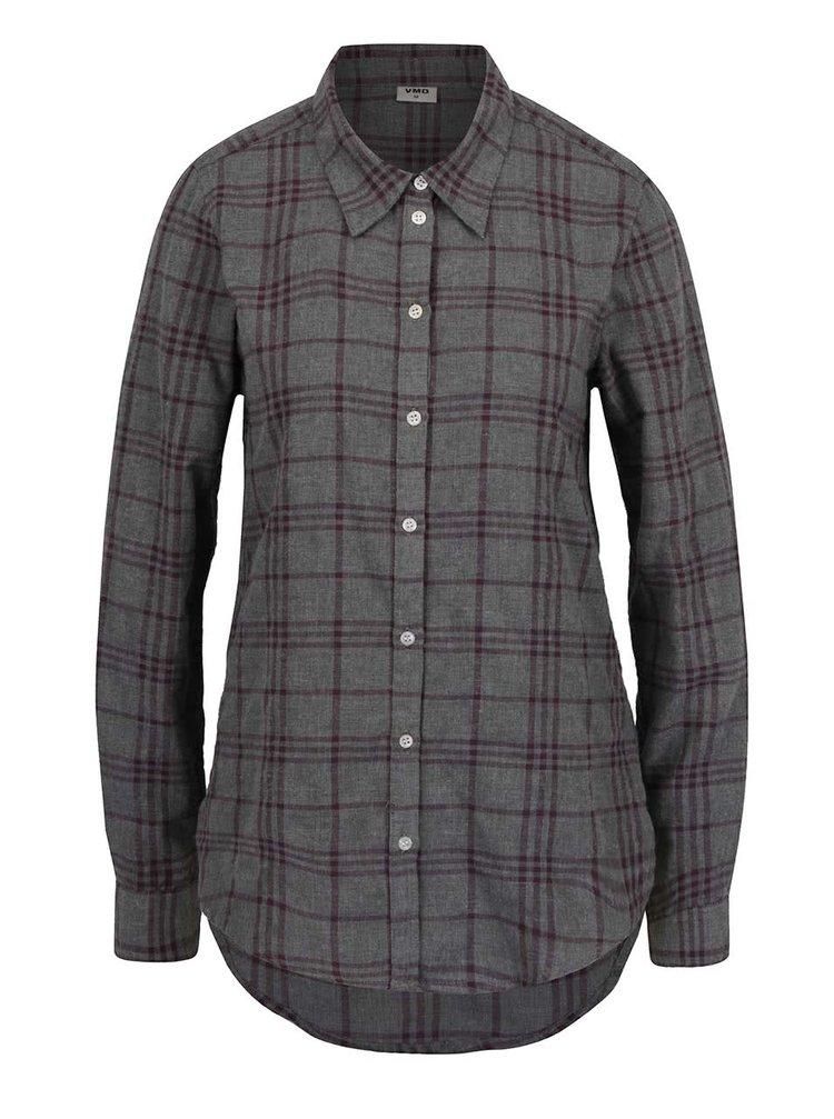Vínovo-šedá flanelová kostkovaná košile VERO MODA Check