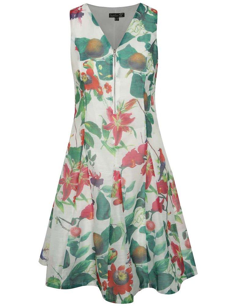Bílé květované šaty se zipem Smashed Lemon
