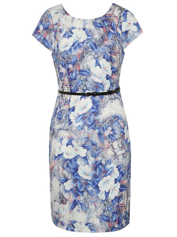 Rochie alb & albastru Smashed Lemon cu model floral