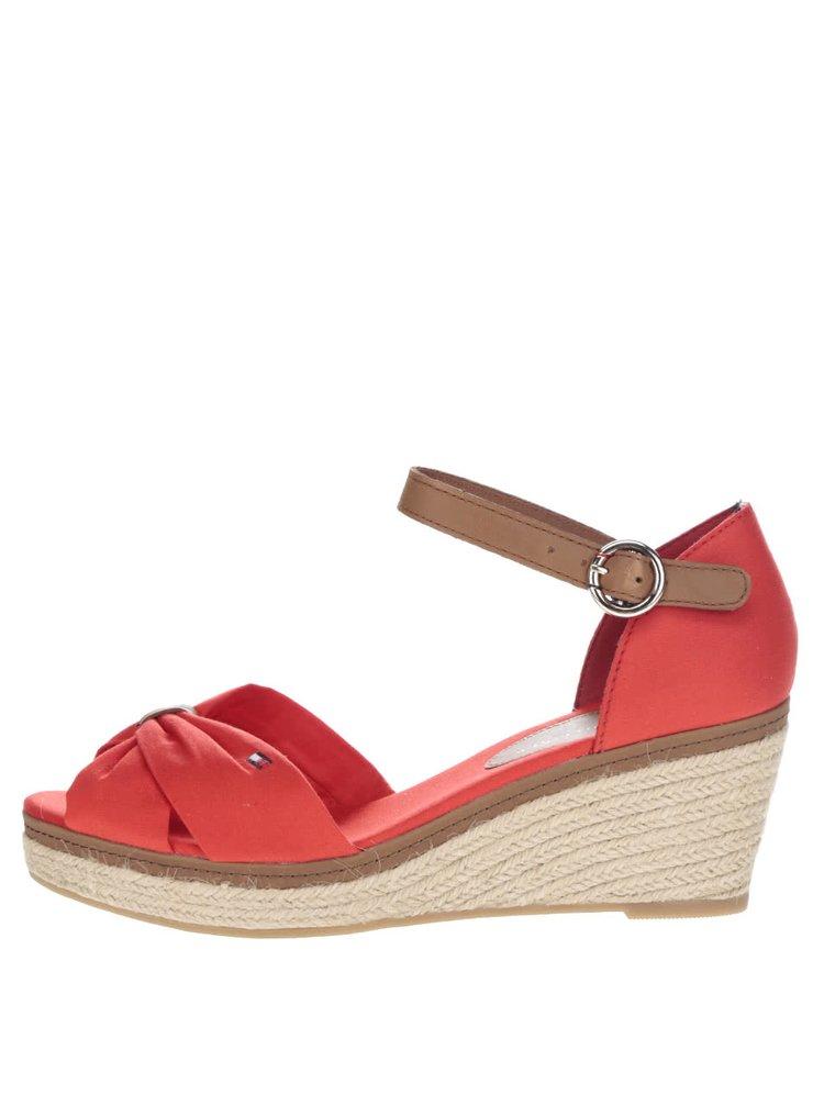 Červené dámské sandály na klínku Tommy Hilfiger