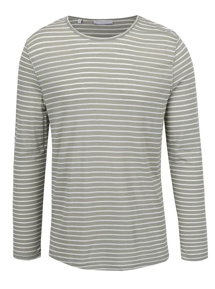 Bílo-zelené pruhované tričko s příměsí lnu Selected Homme Liam