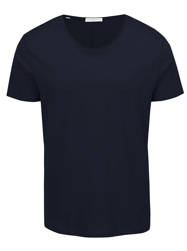 Tmavě modré basic triko s krátkým rukávem Selected Homme Piper