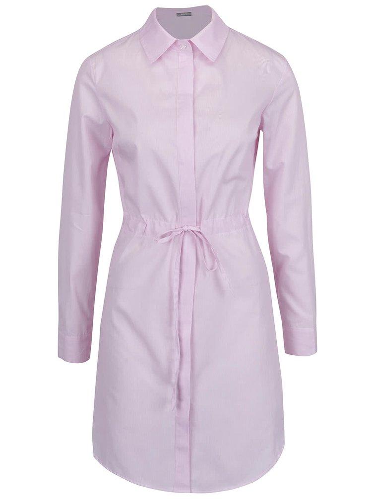 Rochie cămașă roz pal ZOOT cu șnur în talie
