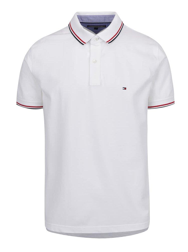 Bílé pánské polo triko s proužky Tommy Hilfiger