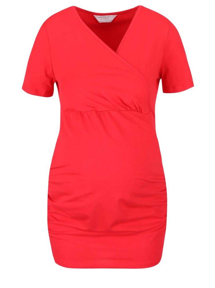 Červené těhotenské tričko s véčkovým výstřihem Dorothy Perkins Maternity