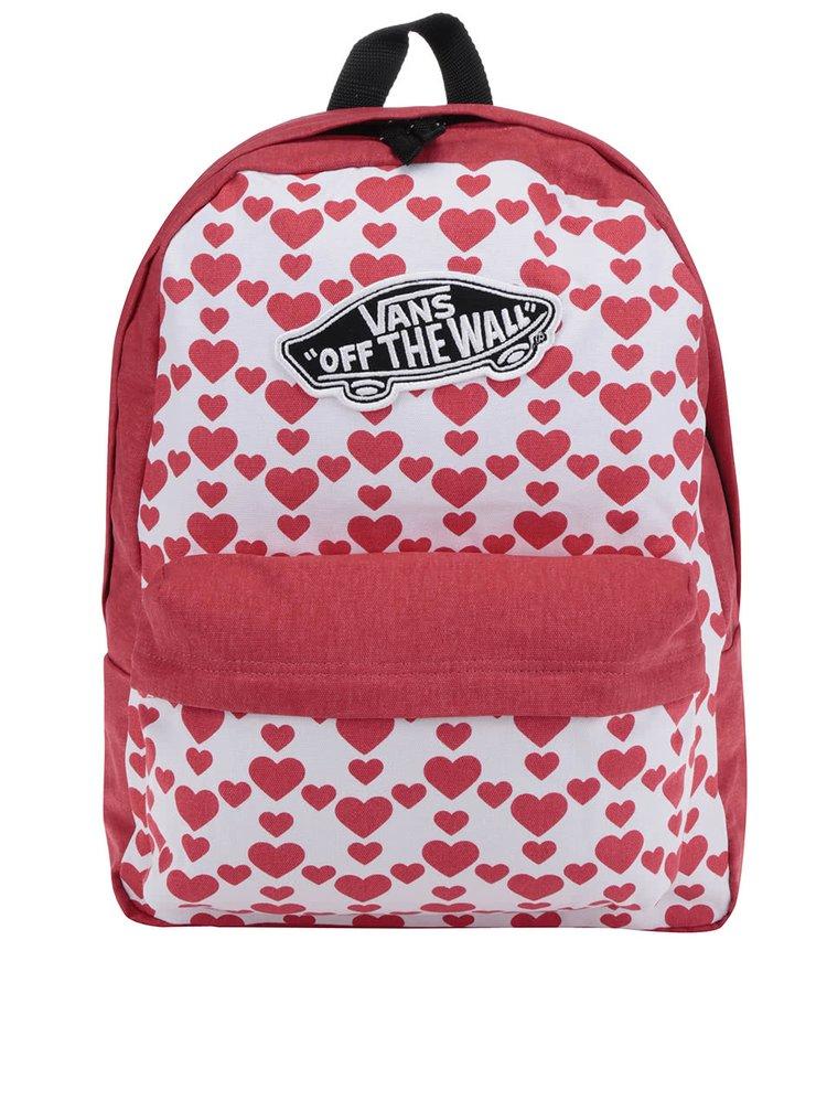 Červeno-bílý dámský batoh se srdíčky VANS Realm