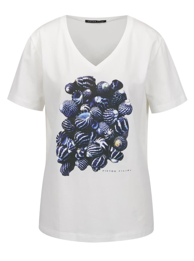 Krémové dámské tričko s krátkým rukávem a potiskem Pietro Filipi