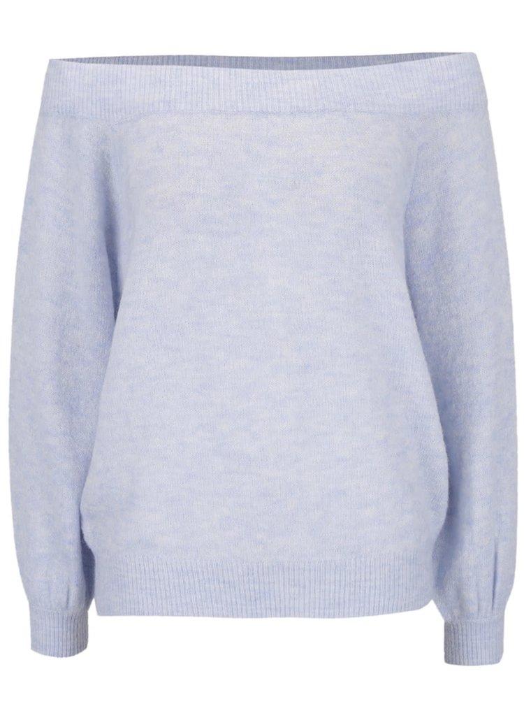 Světle modrý svetr s odhalenými rameny Selected Femme Mia
