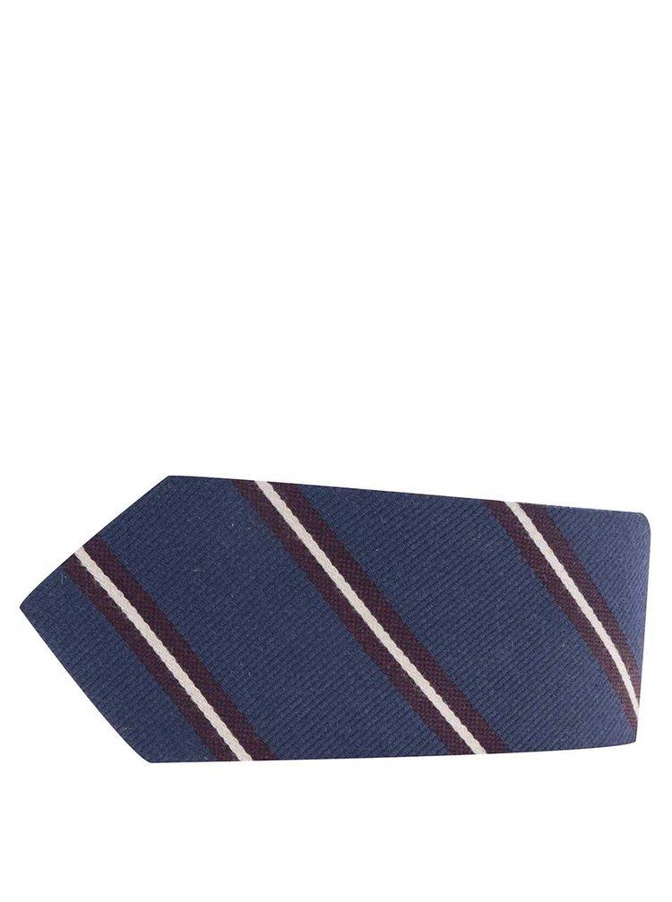 Cravata albastru inchis Jack & Jones Milano cu model in dungi