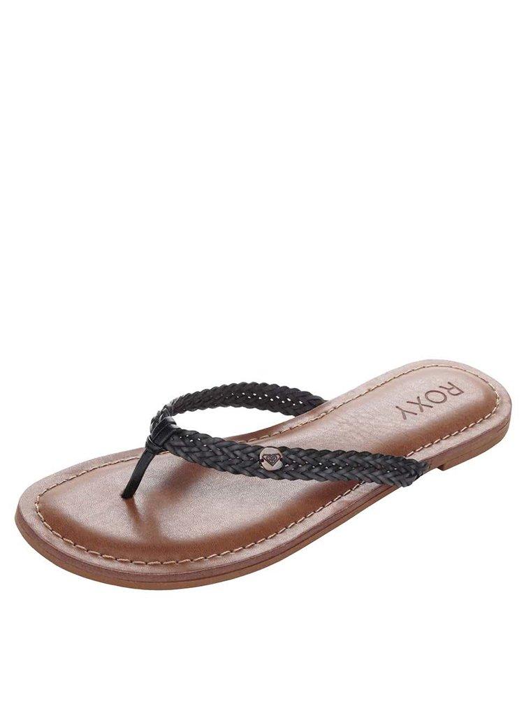 Papuci flip-flop negri Roxy Carmen cu barete împletite