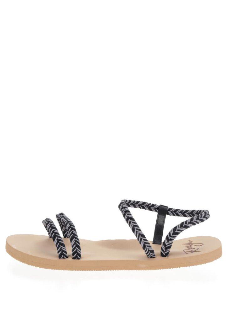 Sandale gri & negru Roxy Luana cu barete împletite