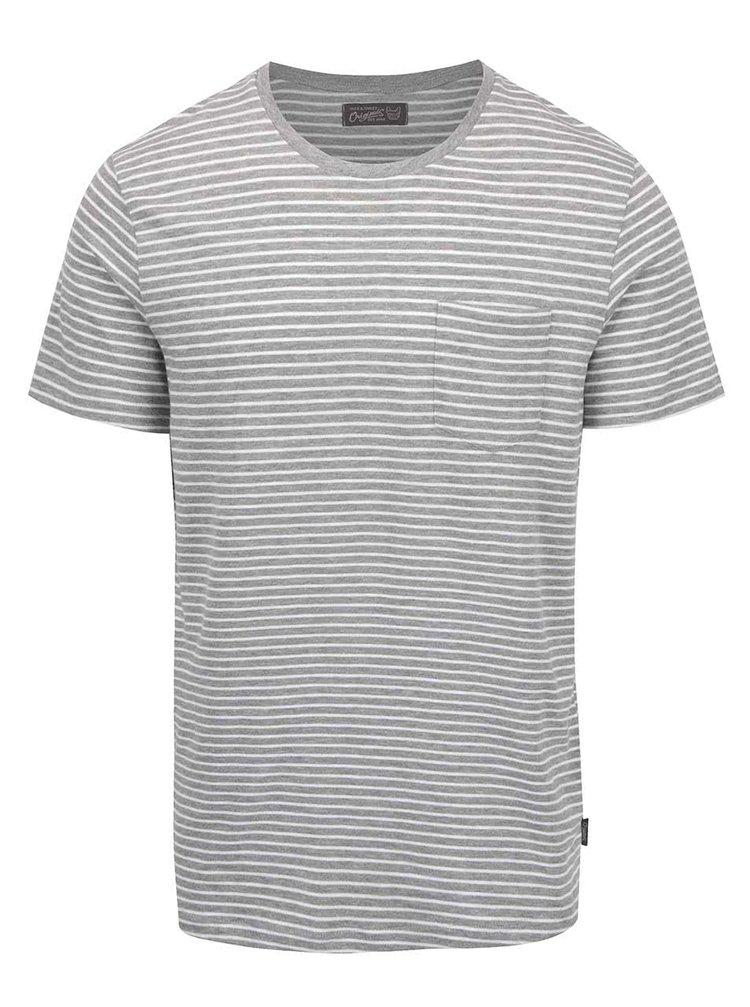 Bílo-šedé pruhované triko s kapsou Jack & Jones Berlin
