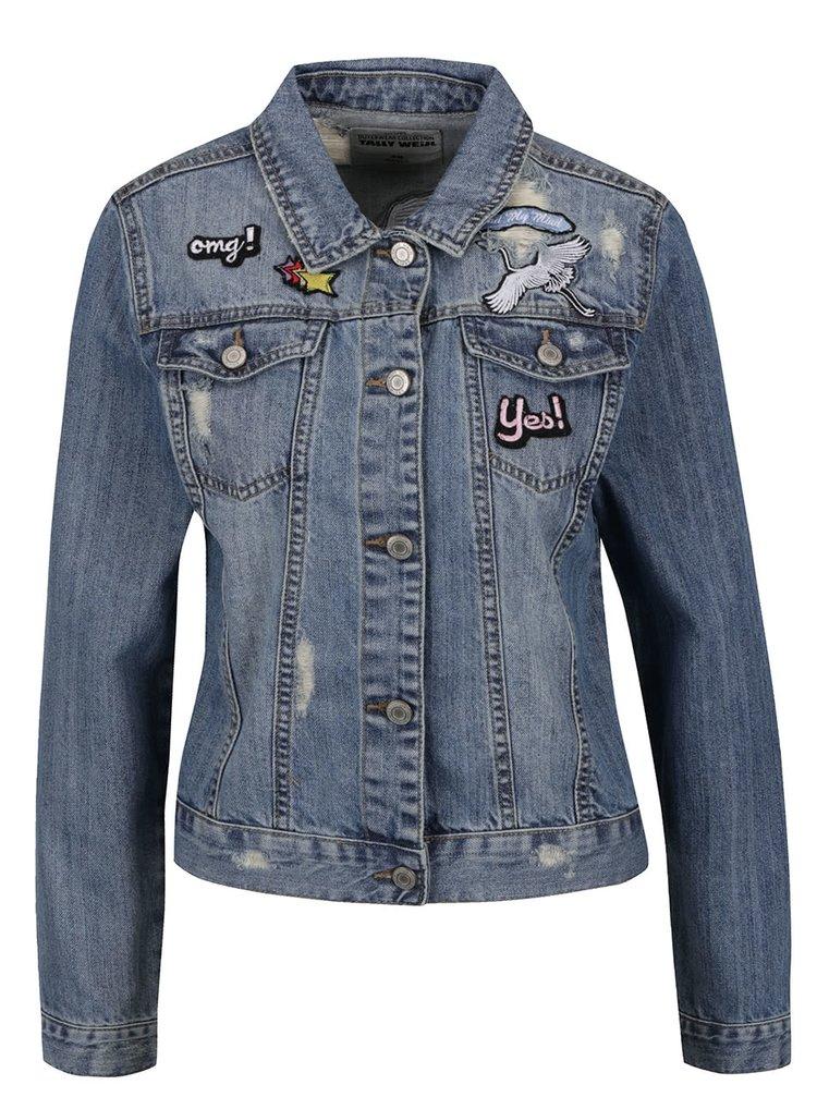Modrá džínová bunda s nášivkami TALLY WEiJL