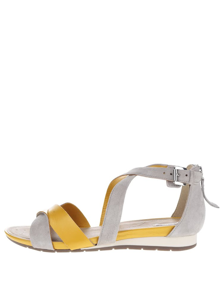 Sandale galben & gri Geox Formosa din piele întoarsă