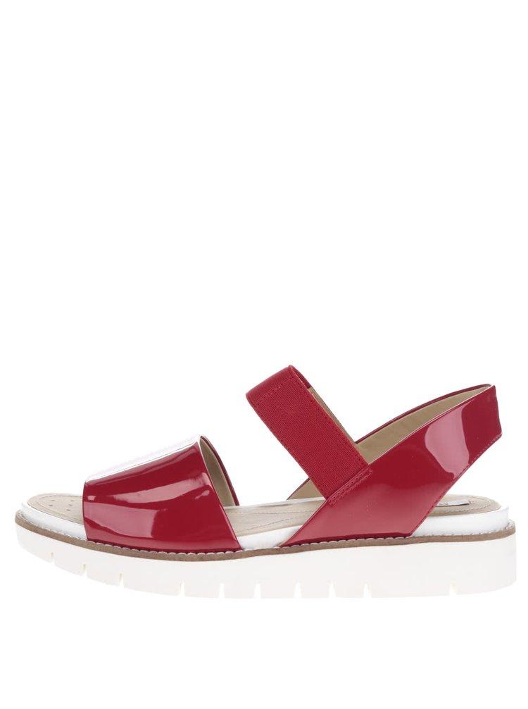 Červené dámské kožené sandály Geox Darline