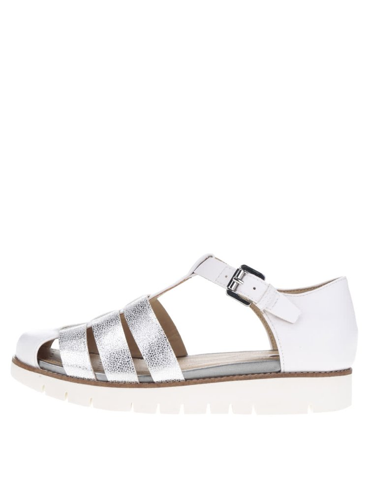 Bílé dámské kožené sandály s pásky ve stříbrné barvě Geox Darline