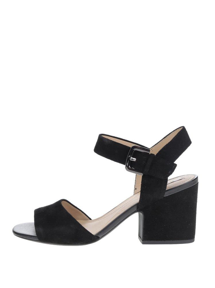 Sandale negre Geox Marilyse din piele intoarsa