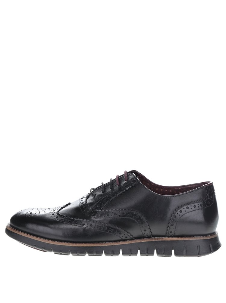 Pantofi Brogue negri London Brogues Gatz Oxford din piele