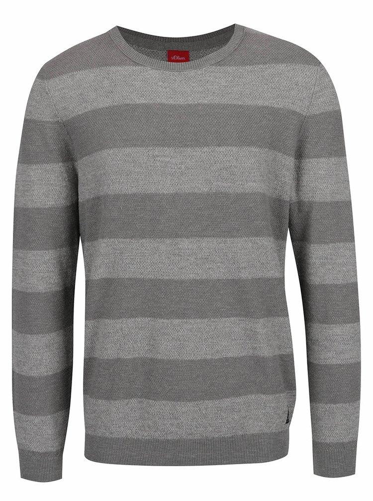 Šedý pruhovaný pánský svetr s.Oliver