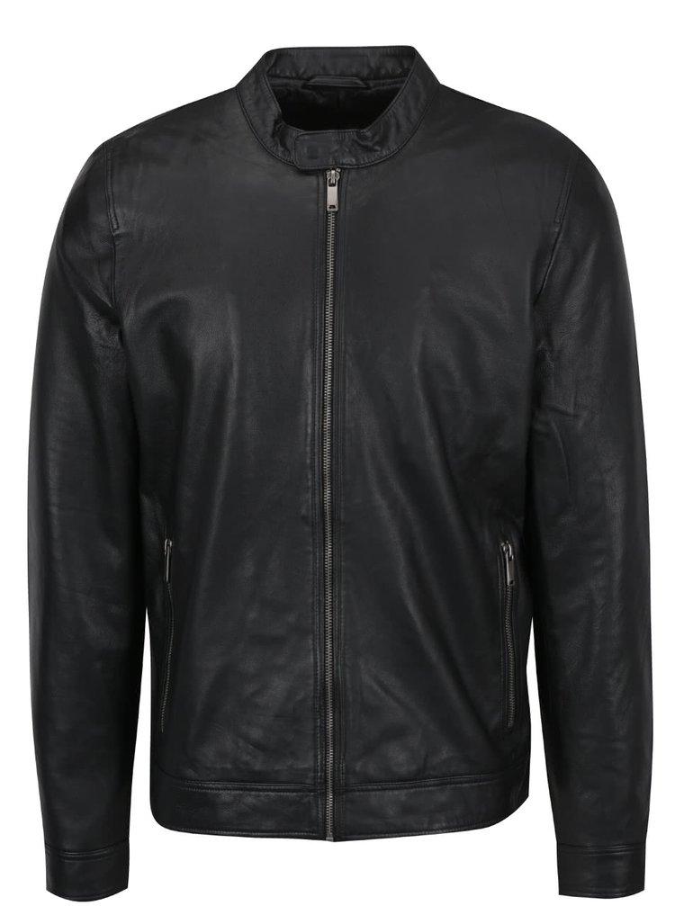 Černá kožená bunda Jack & Jones Ernst