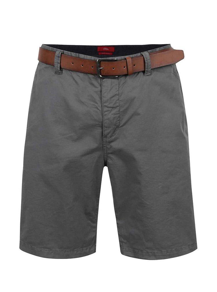 Pantaloni gri închis s.Oliver cu curea maro