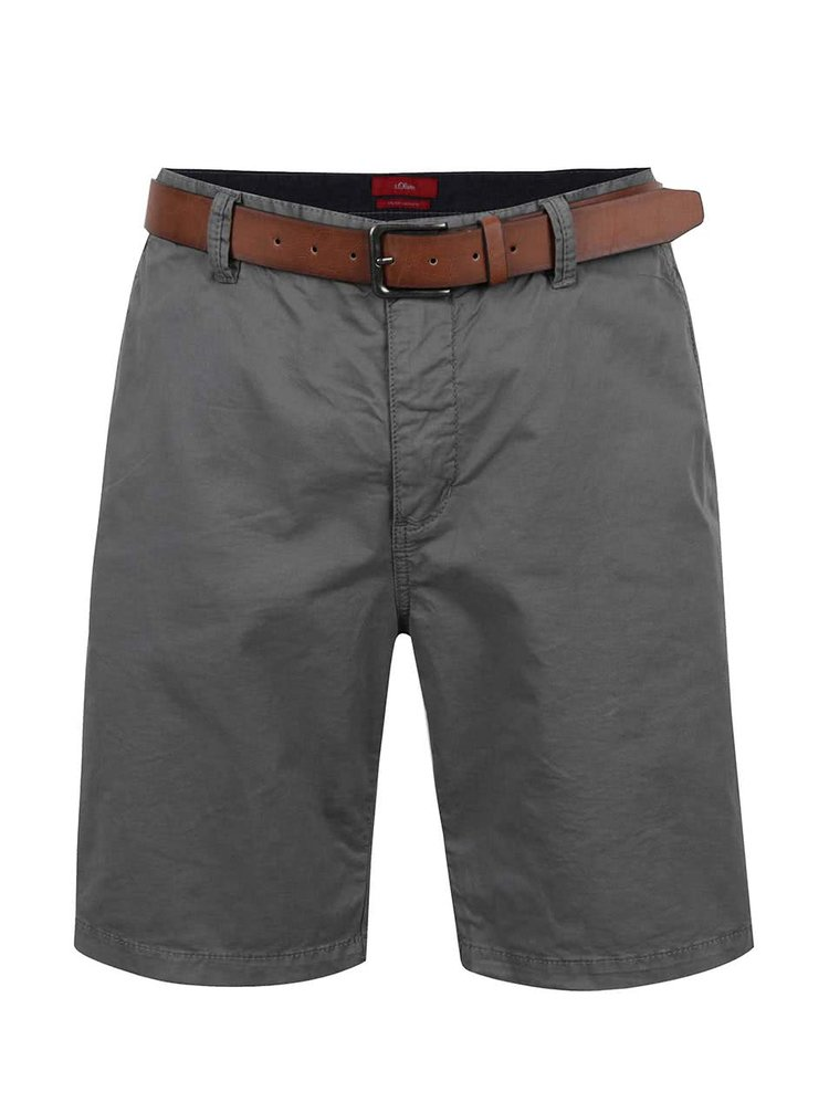 Pantaloni gri inchis s.Oliver cu curea maro
