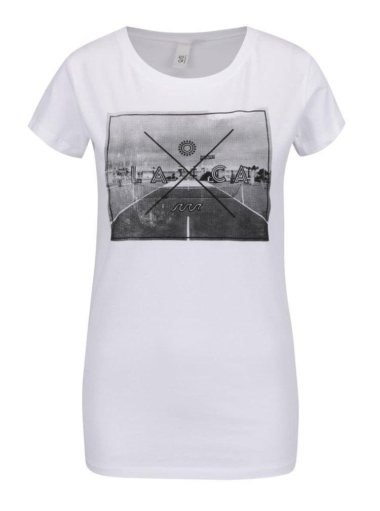 Bílé dámské tričko s potiskem QS  by s. Oliver