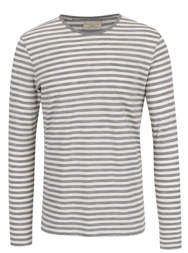 Bluză gri închis & crem Selected Homme Fredd cu model în dungi