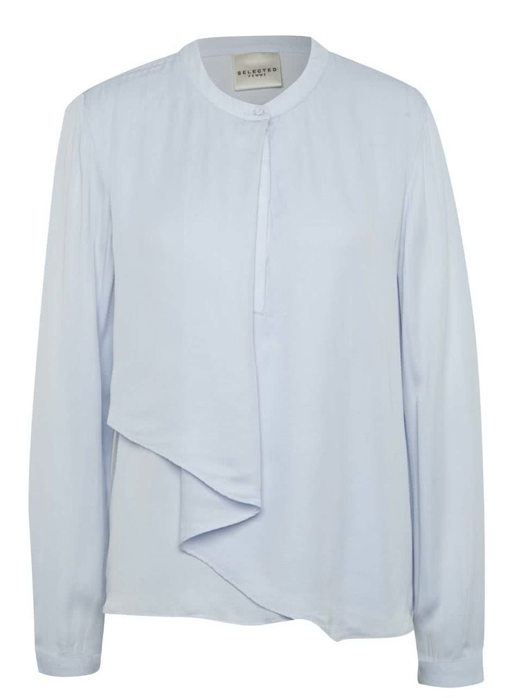 Bluza bleu Selected Femme Tora cu volan amplu decorativ